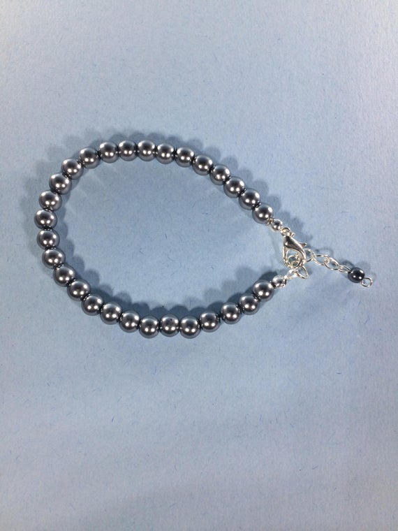 4 BLACK BEAD Bracelets Silver Stacking