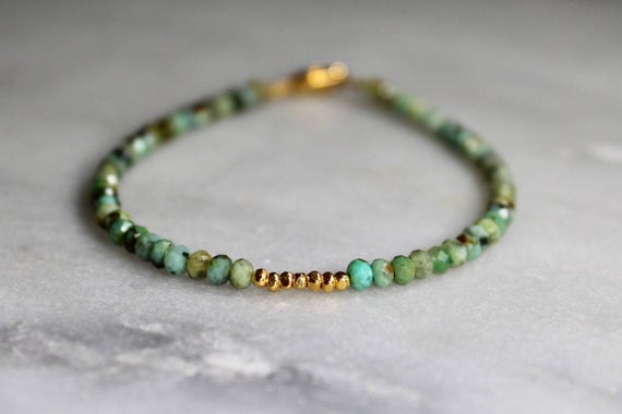 Turquoise Bracelet With Spiritual Meaning Turquoise Beaded Bracelet Simple African Turquoise Bracelet With Gold Or Sterling Silver 3 4mm Code War6050 Mangtum